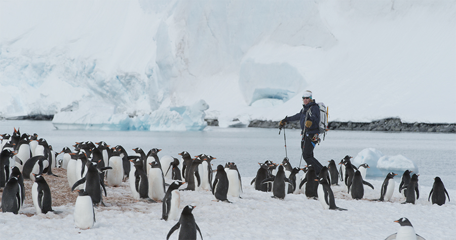 Doug Stoup with some of his closest friends during his 49th trip to Antarctica.